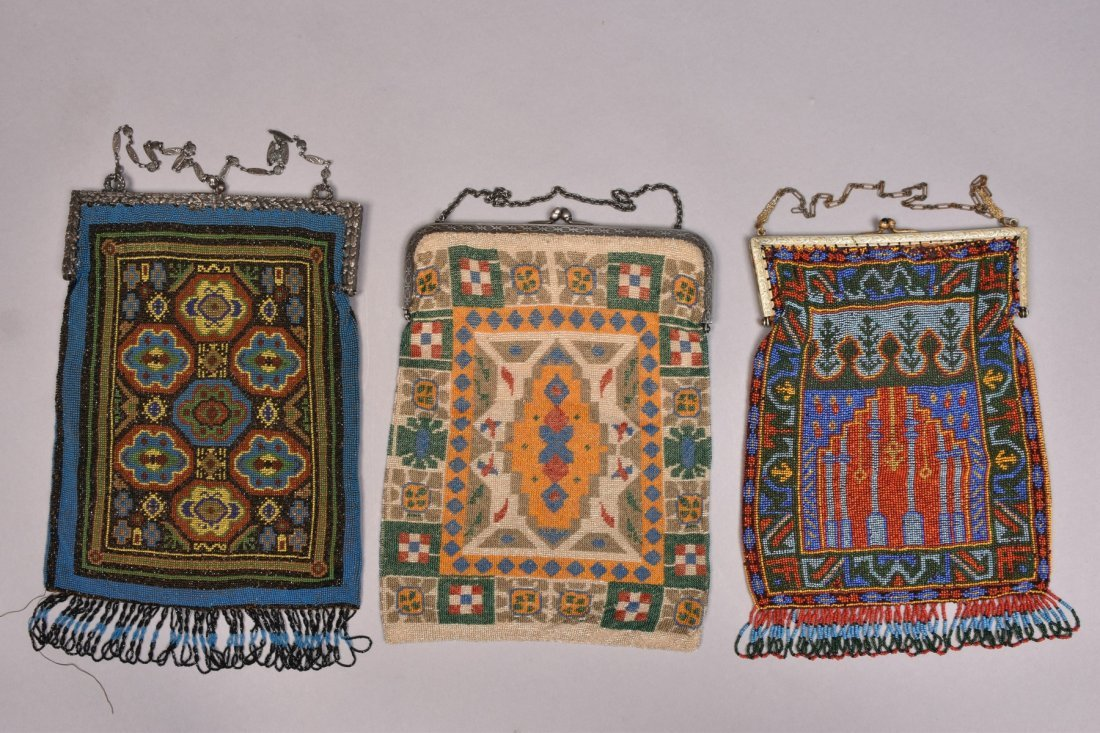 THREE LARGE CARPET DESIGN BEADED BAGS, 1920s.