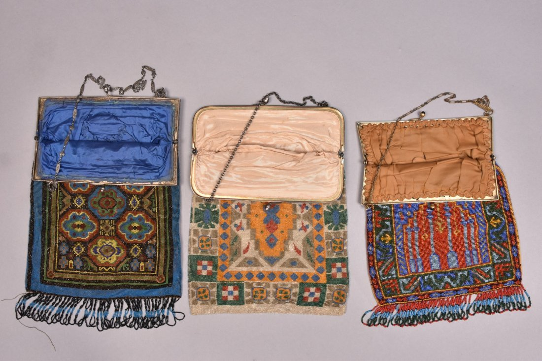 THREE LARGE CARPET DESIGN BEADED BAGS, 1920s. - 2