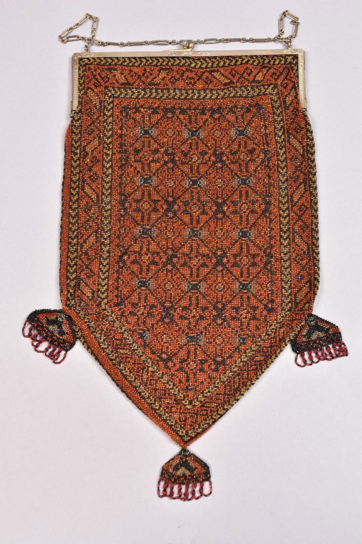 OVERSIZE CARPET DESIGN BEADED BAG, EARLY 20th C.