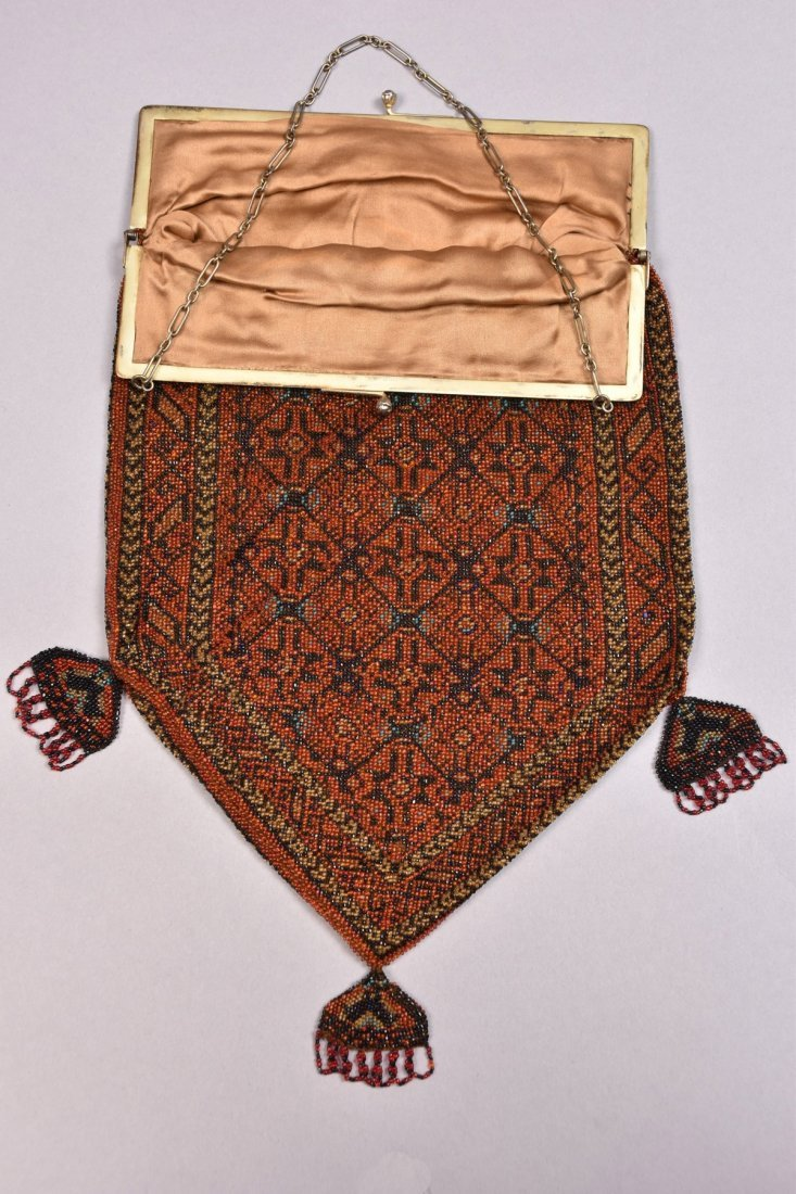 OVERSIZE CARPET DESIGN BEADED BAG, EARLY 20th C. - 3