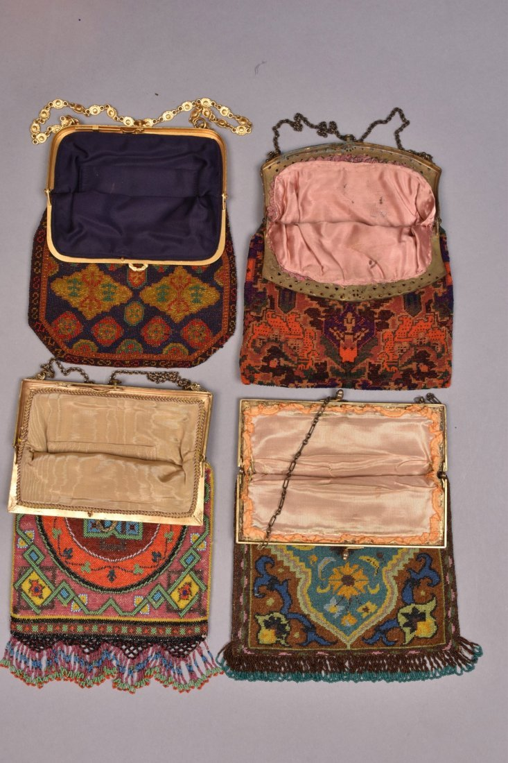 FOUR CARPET DESIGN BEADED BAGS, 1920s. - 2