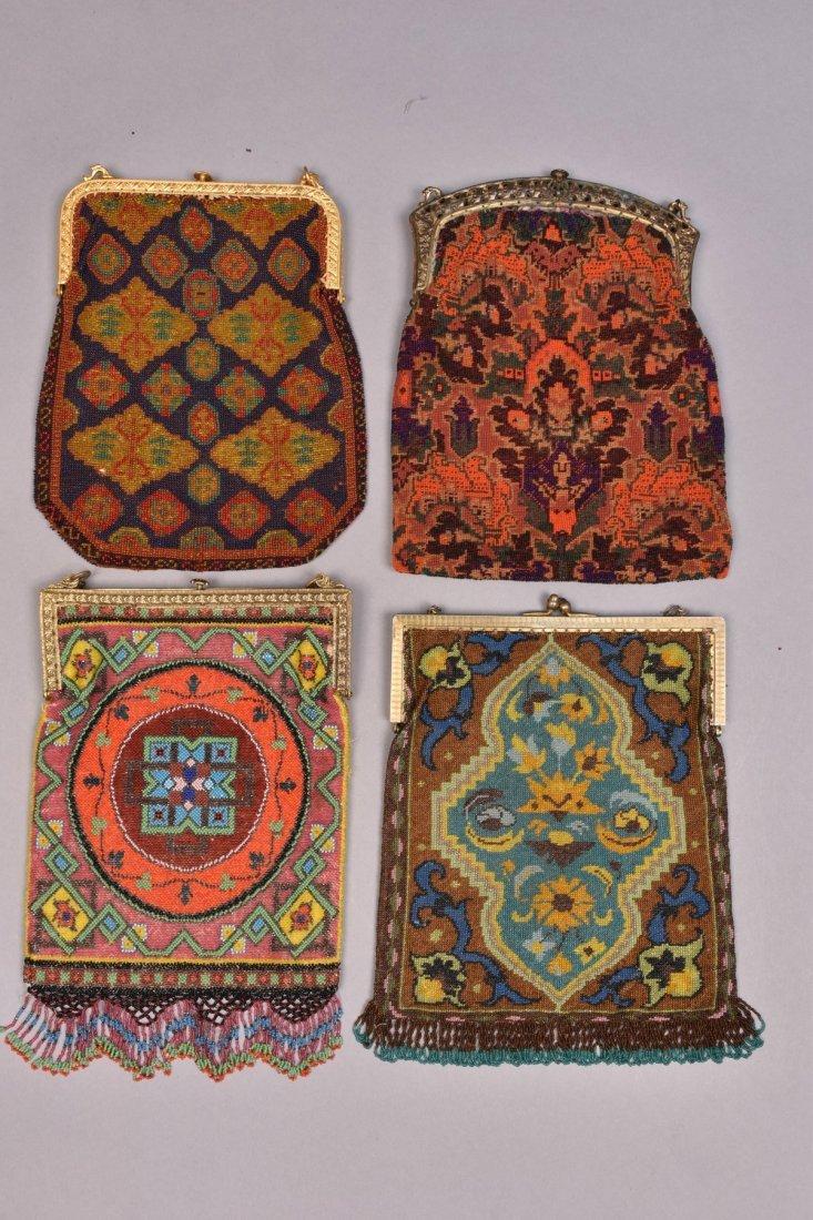 FOUR CARPET DESIGN BEADED BAGS, 1920s. - 3