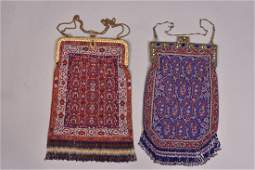 TWO LARGE CARPET DESIGN MICROBEADED BAGS 1920s