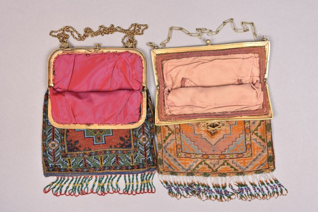 TWO CARPET DESIGN BEADED BAGS, 1920s. - 2