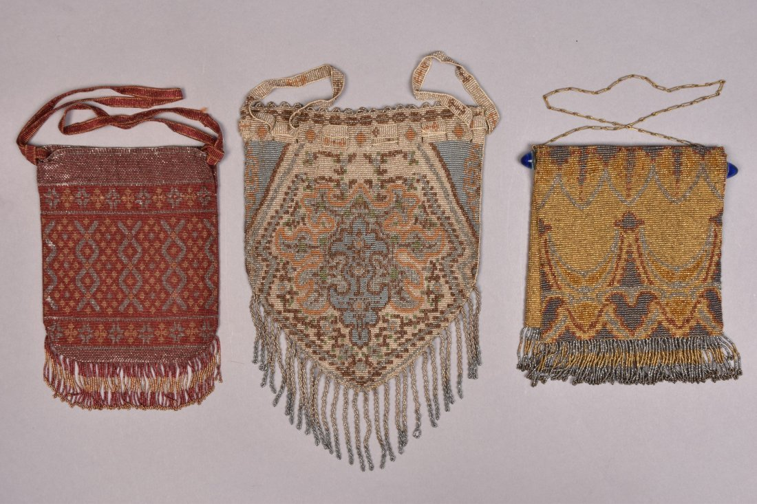THREE FRENCH MICRO STEEL BEADED BAGS, c. 1920.
