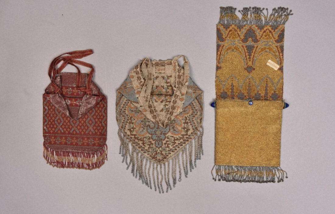 THREE FRENCH MICRO STEEL BEADED BAGS, c. 1920. - 2