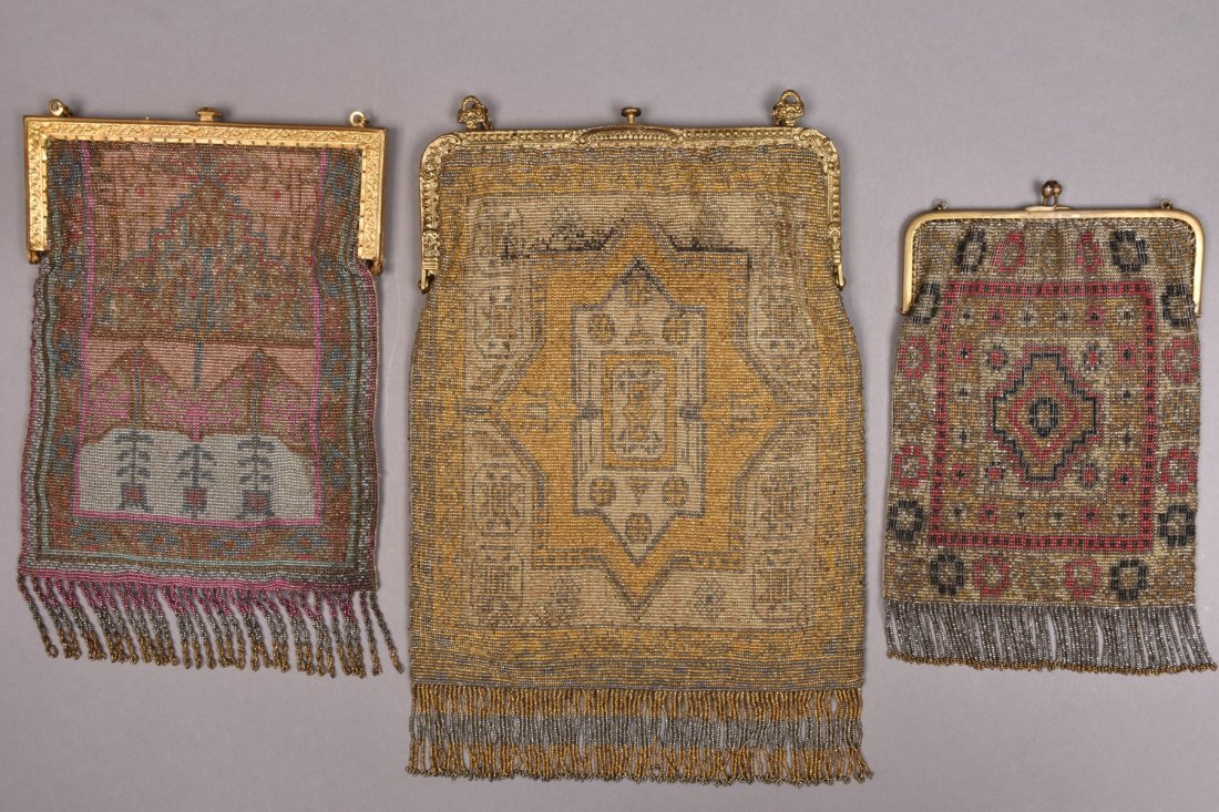 THREE FRENCH MICRO STEEL BEADED BAGS, c. 1920. - 3
