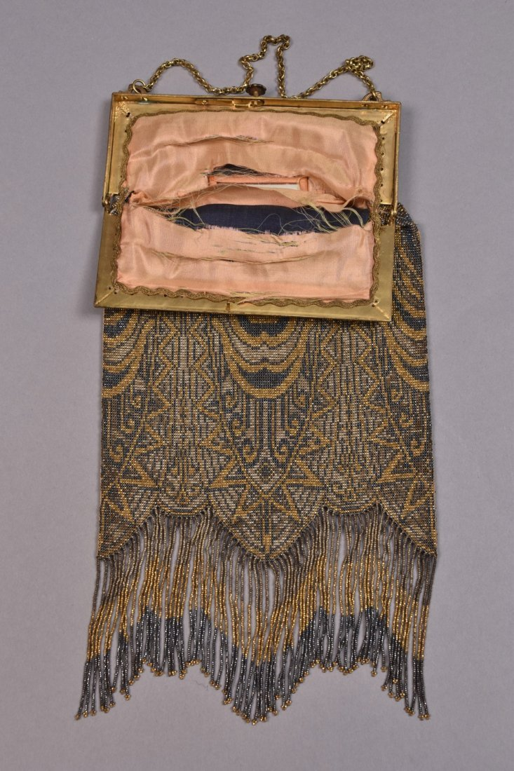 LARGE DECO STEEL BEADED BAG, EARLY 20th C. - 2