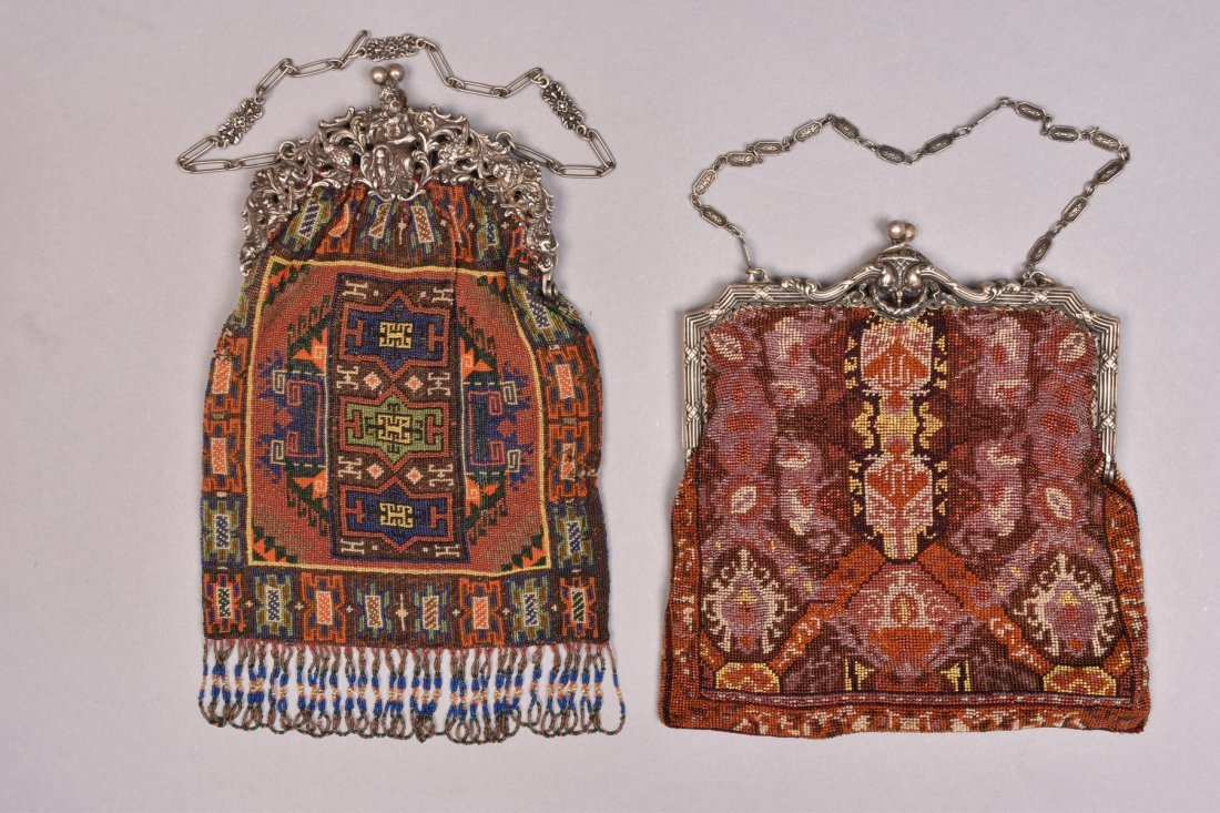 TWO BEADED BAGS with FANCY PIERCED SILVER FRAME, EARLY