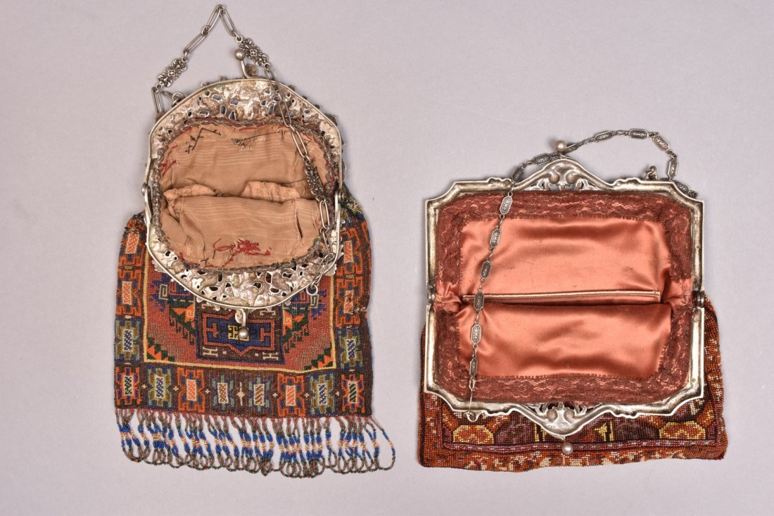 TWO BEADED BAGS with FANCY PIERCED SILVER FRAME, EARLY - 2