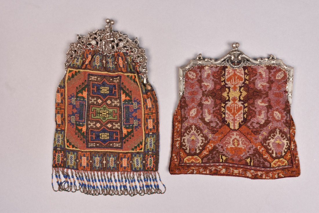 TWO BEADED BAGS with FANCY PIERCED SILVER FRAME, EARLY - 3