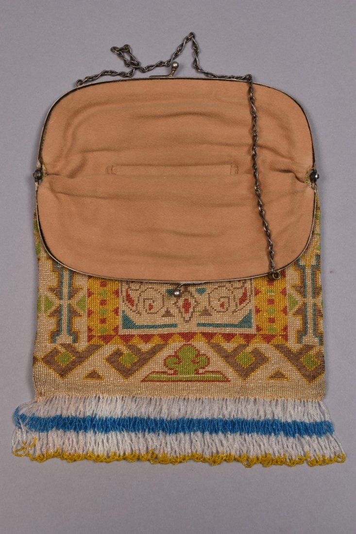 OVERSIZE CARPET DESIGN BEADED BAG, EARLY 20th C. - 2
