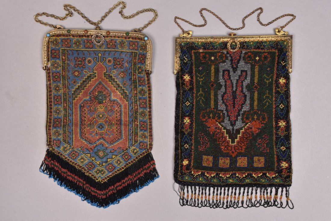 TWO PRAYER CARPET DESIGN BEADED BAGS, EARLY 20th C.