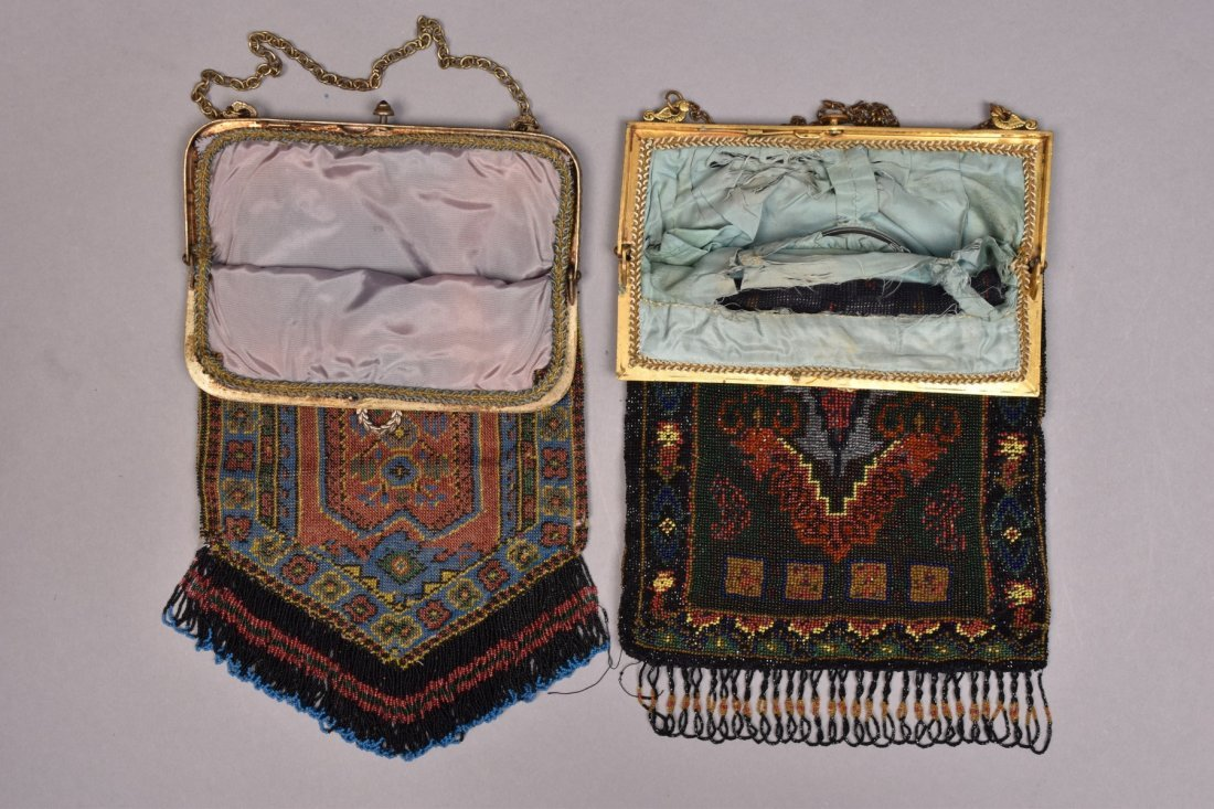 TWO PRAYER CARPET DESIGN BEADED BAGS, EARLY 20th C. - 2
