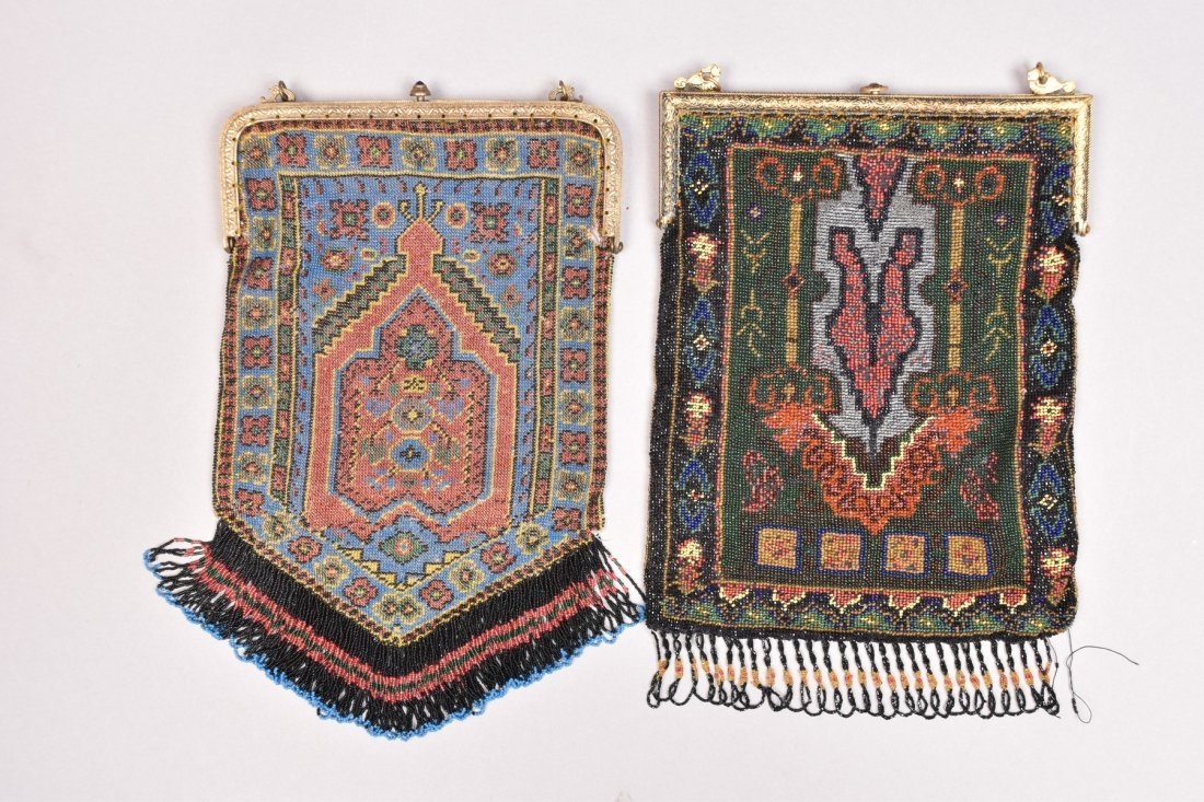 TWO PRAYER CARPET DESIGN BEADED BAGS, EARLY 20th C. - 3