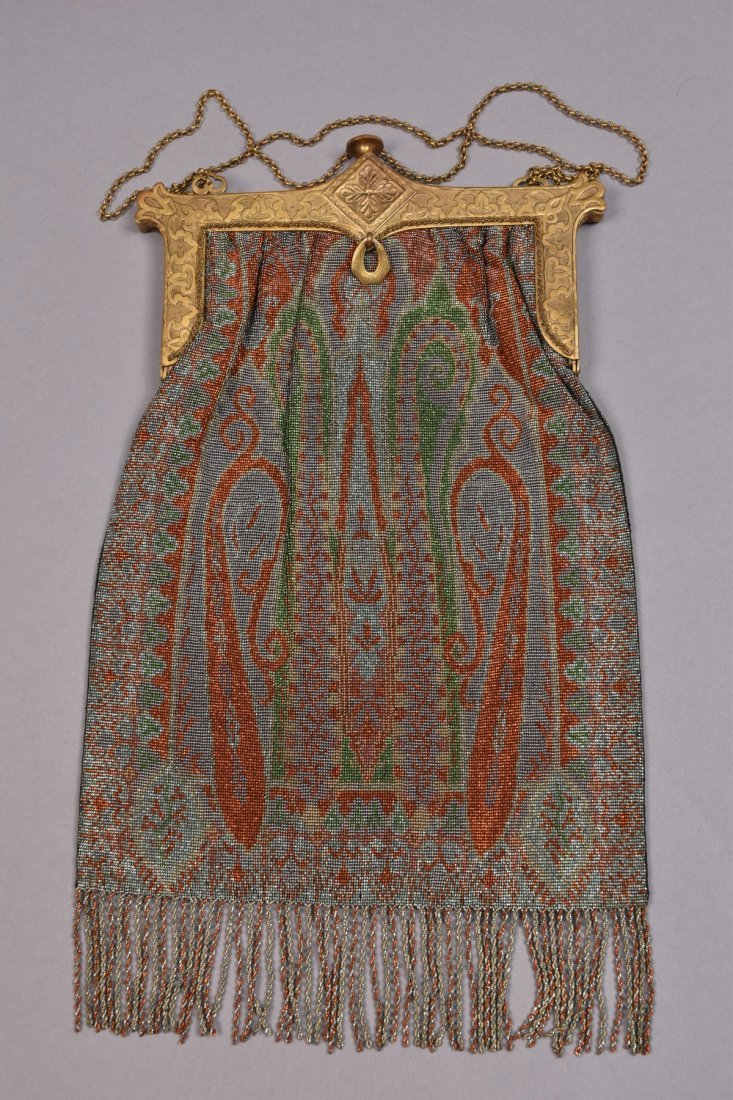 OVERSIZE PAISLEY DESIGN STEEL BEADED BAG, EARLY 20th C.