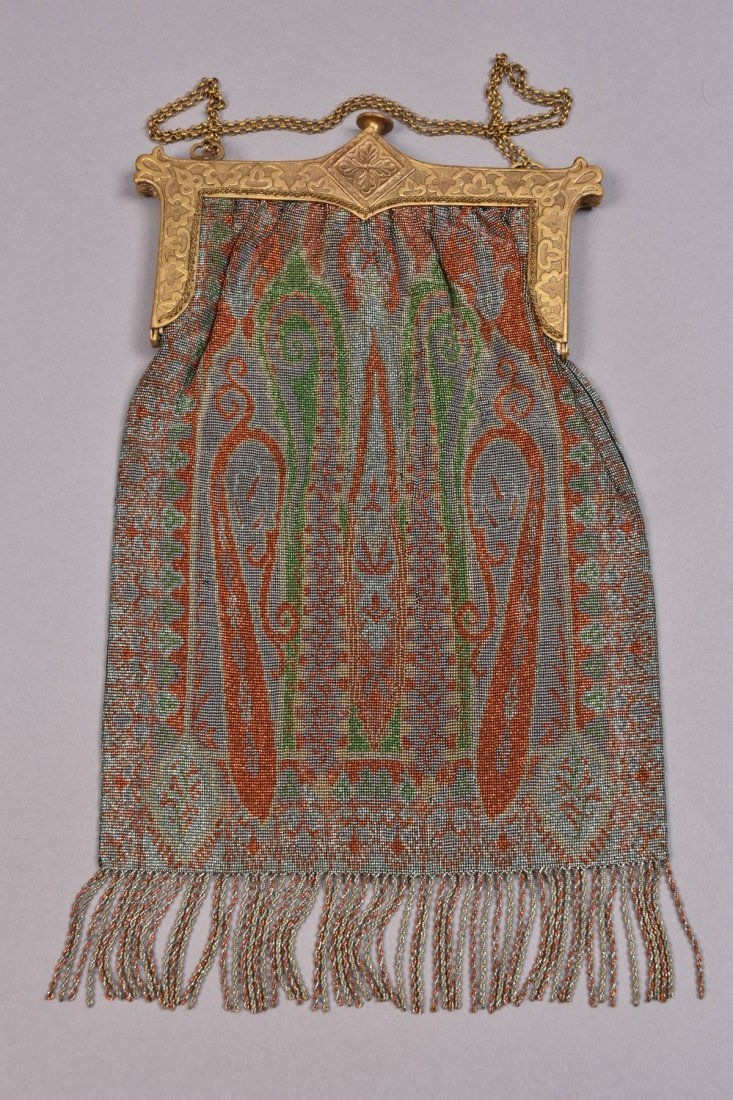 OVERSIZE PAISLEY DESIGN STEEL BEADED BAG, EARLY 20th C. - 2
