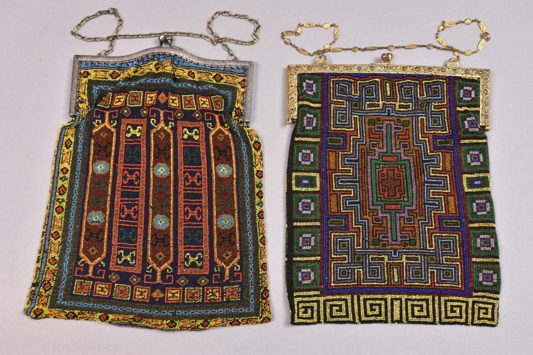 TWO LARGE CARPET DESIGN BEADED BAGS, EARLY 20th C.
