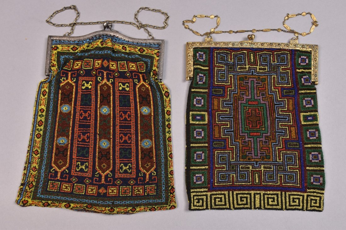 TWO LARGE CARPET DESIGN BEADED BAGS, EARLY 20th C. - 2