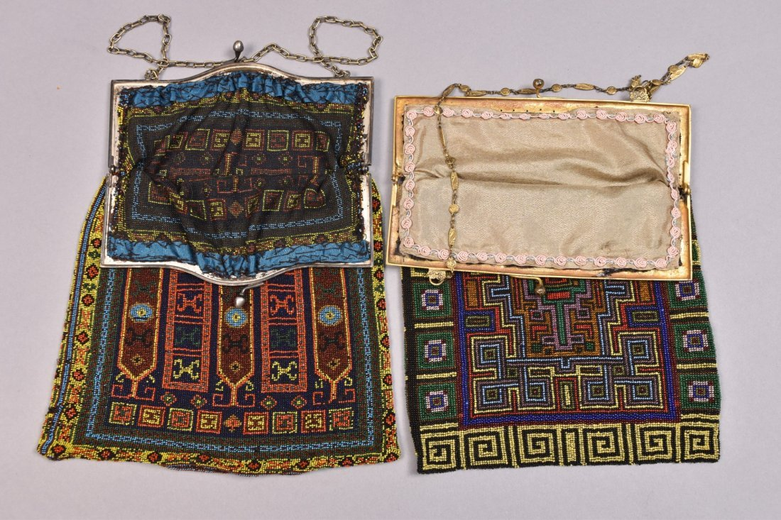 TWO LARGE CARPET DESIGN BEADED BAGS, EARLY 20th C. - 3