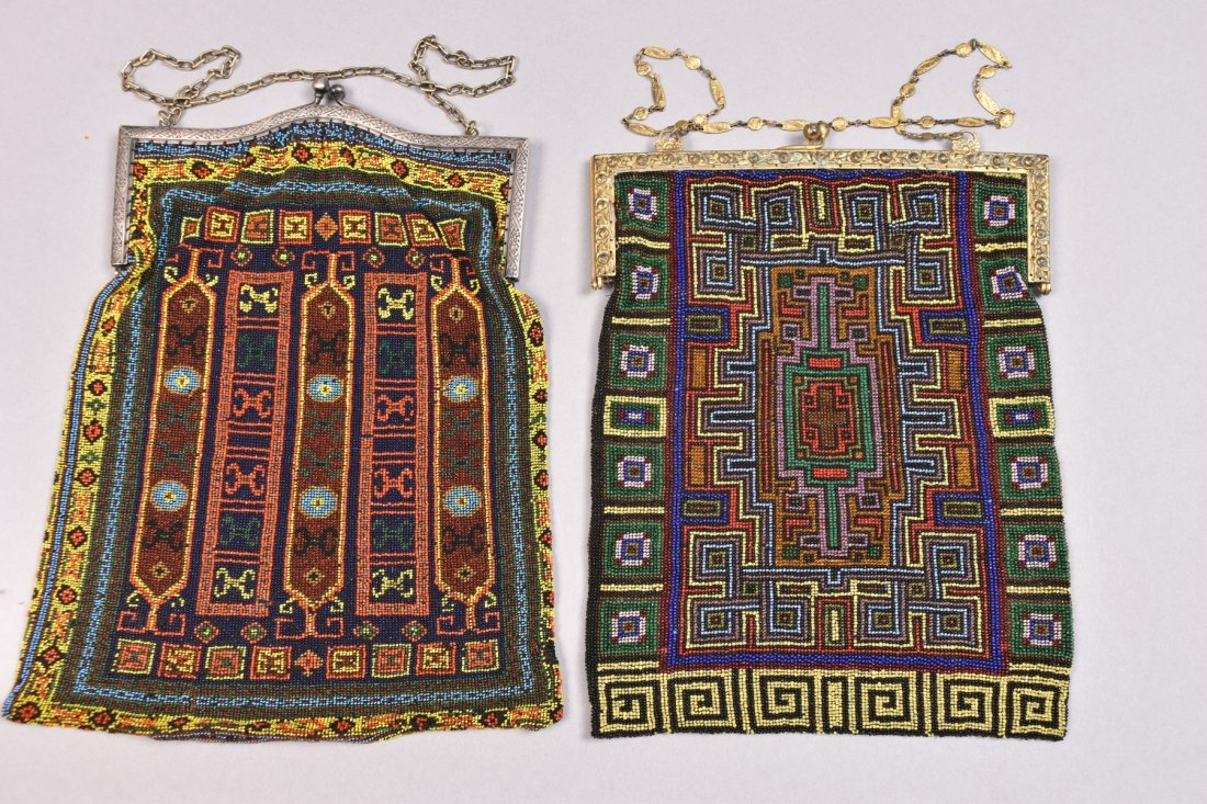 TWO LARGE CARPET DESIGN BEADED BAGS, EARLY 20th C. - 4