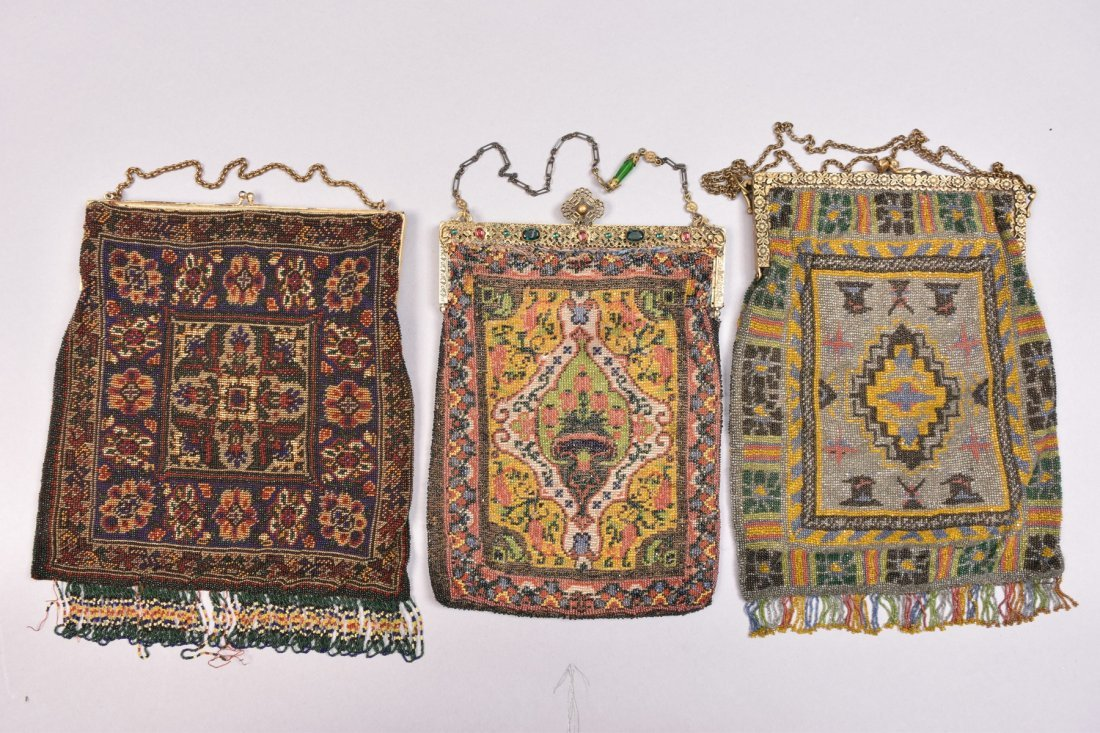 THREE CARPET DESIGN BEADED BAGS, EARLY 20th C.