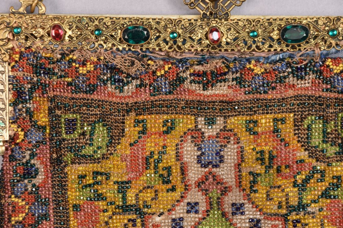 THREE CARPET DESIGN BEADED BAGS, EARLY 20th C. - 2