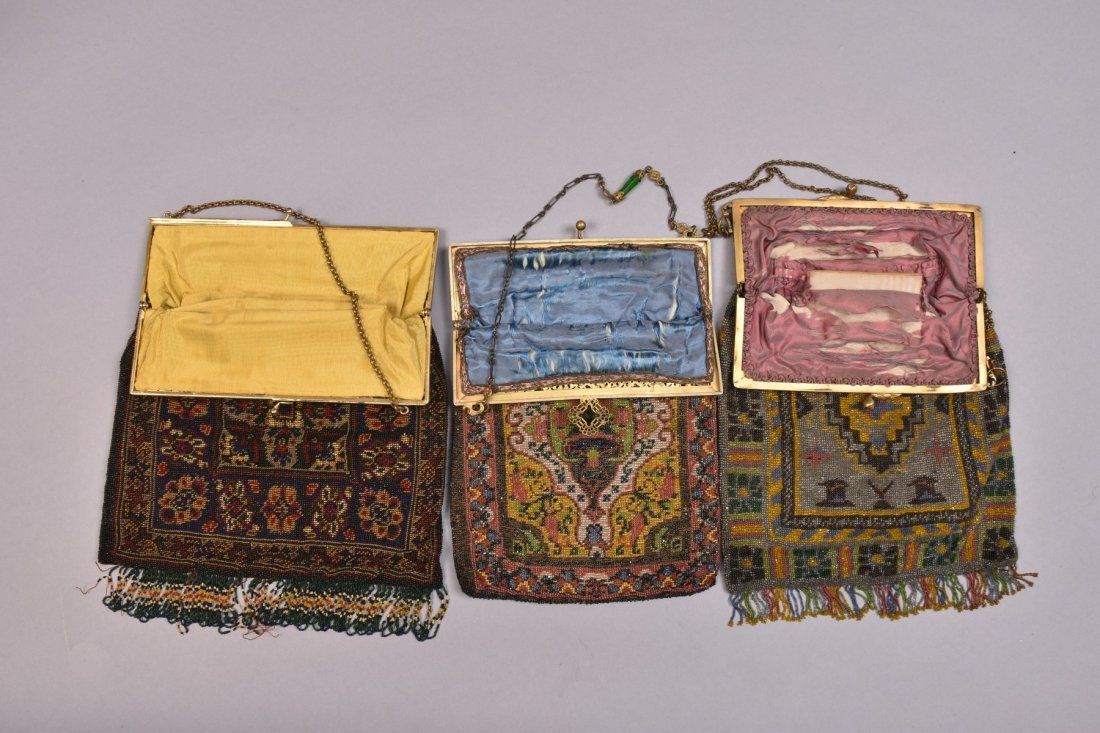 THREE CARPET DESIGN BEADED BAGS, EARLY 20th C. - 3