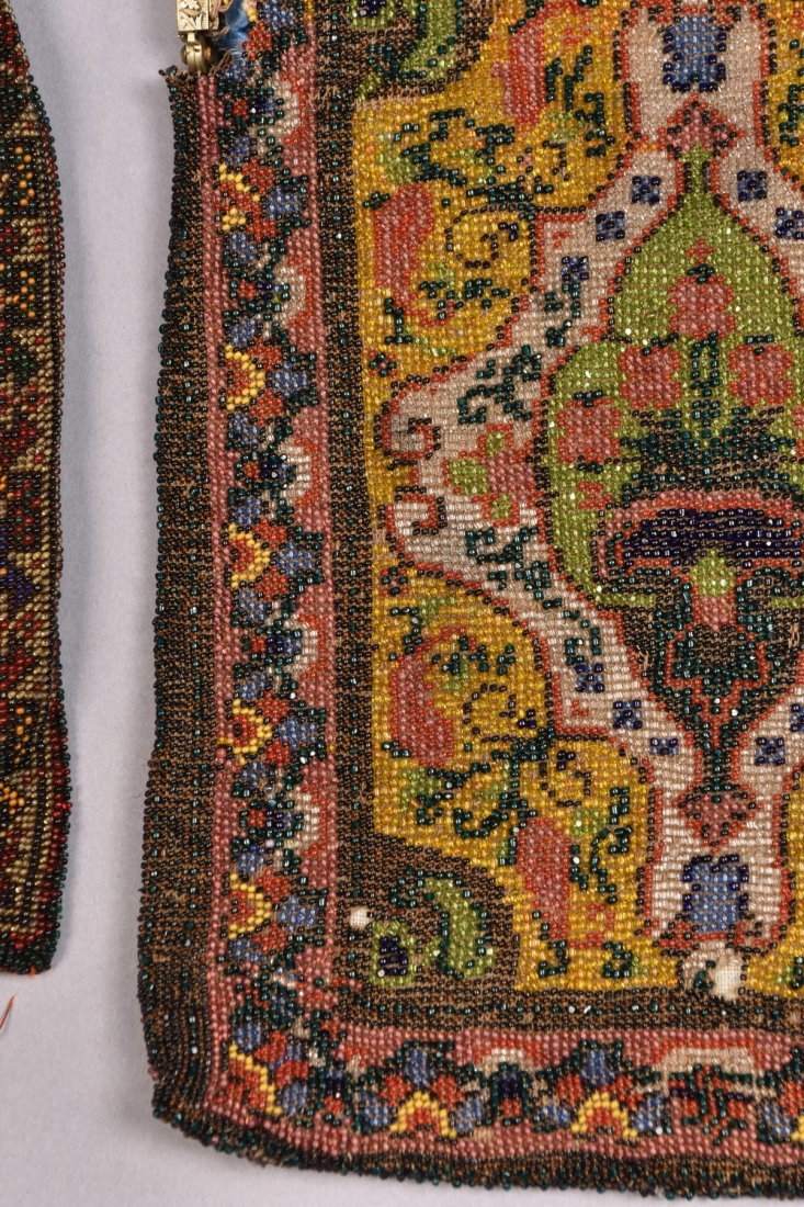 THREE CARPET DESIGN BEADED BAGS, EARLY 20th C. - 4