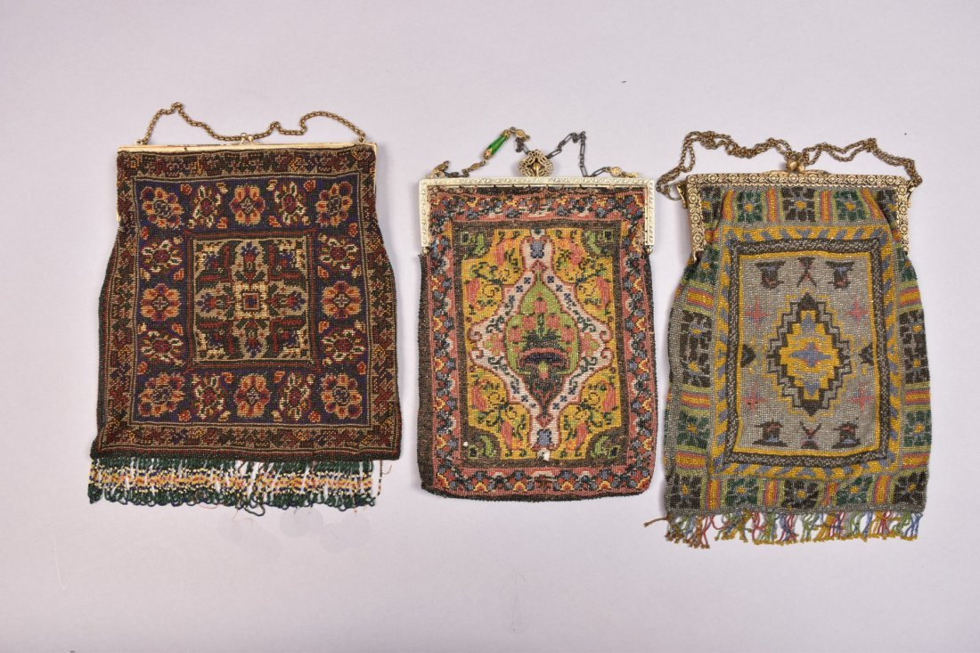 THREE CARPET DESIGN BEADED BAGS, EARLY 20th C. - 5