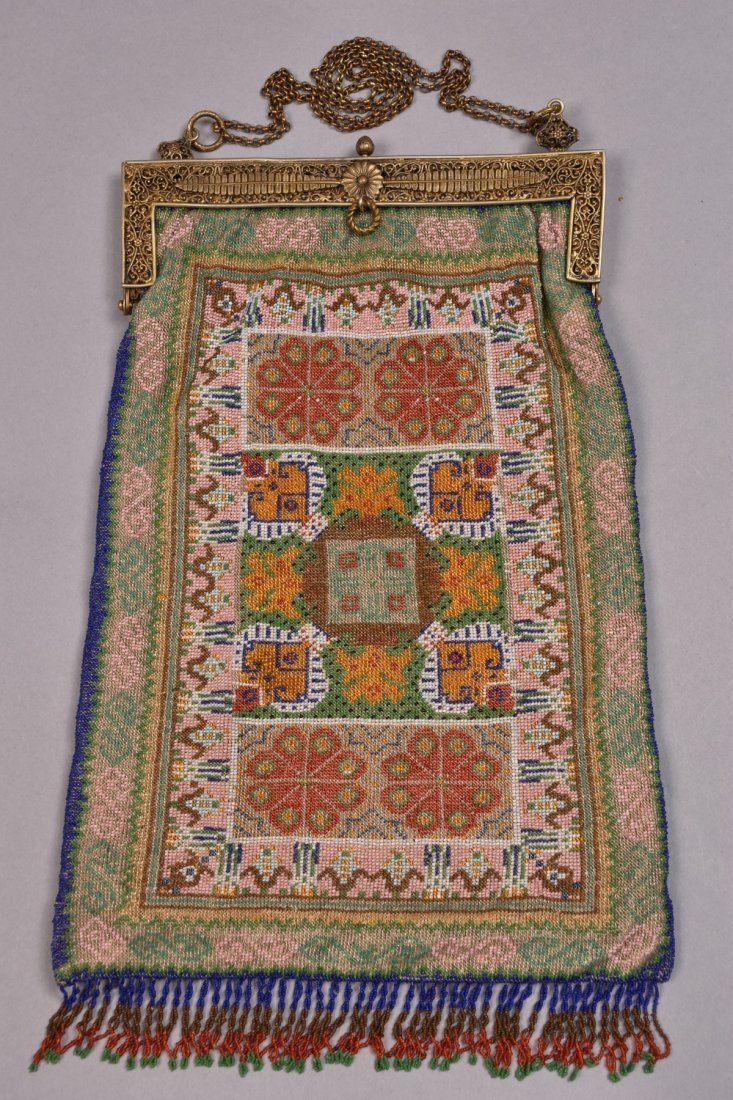 OVERSIZE FRENCH CARPET DESIGN BEADED BAG, EARLY 20th C.