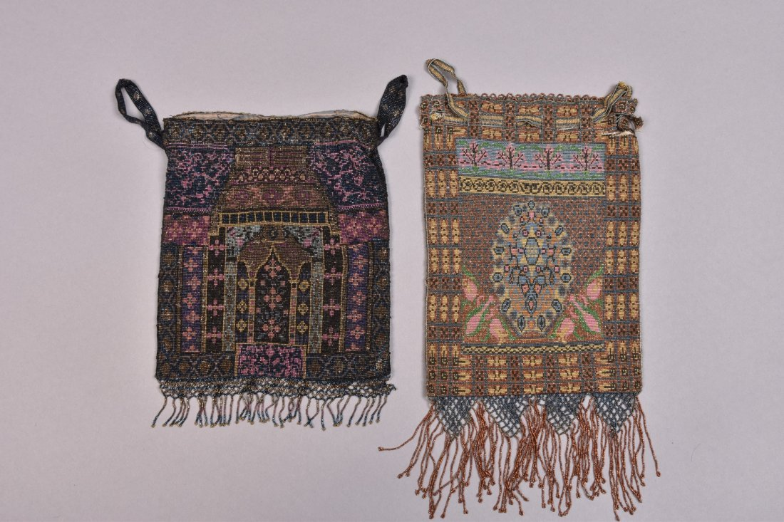 TWO COLORFUL FRENCH MICRO STEEL BEADED PURSES, EARLY