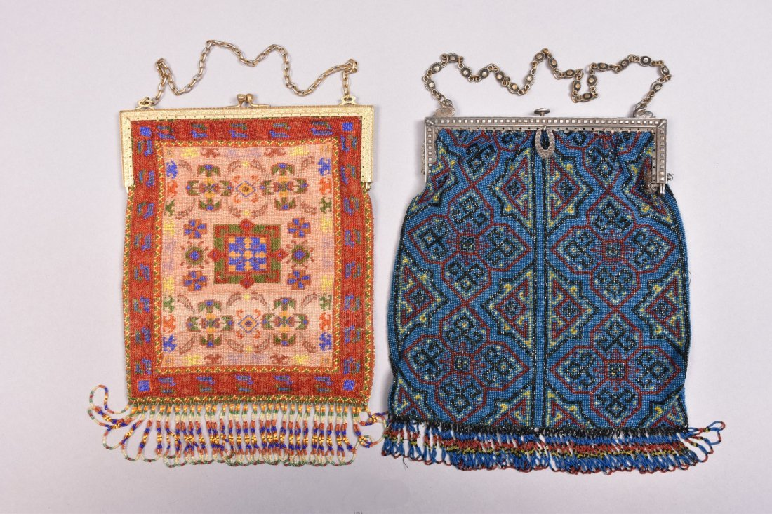 TWO LARGE CARPET DESIGN BEADED BAGS, LATE 20th C.