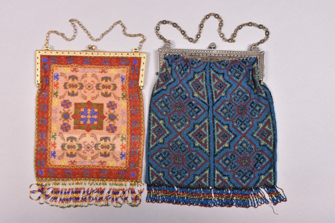 TWO LARGE CARPET DESIGN BEADED BAGS, LATE 20th C. - 2