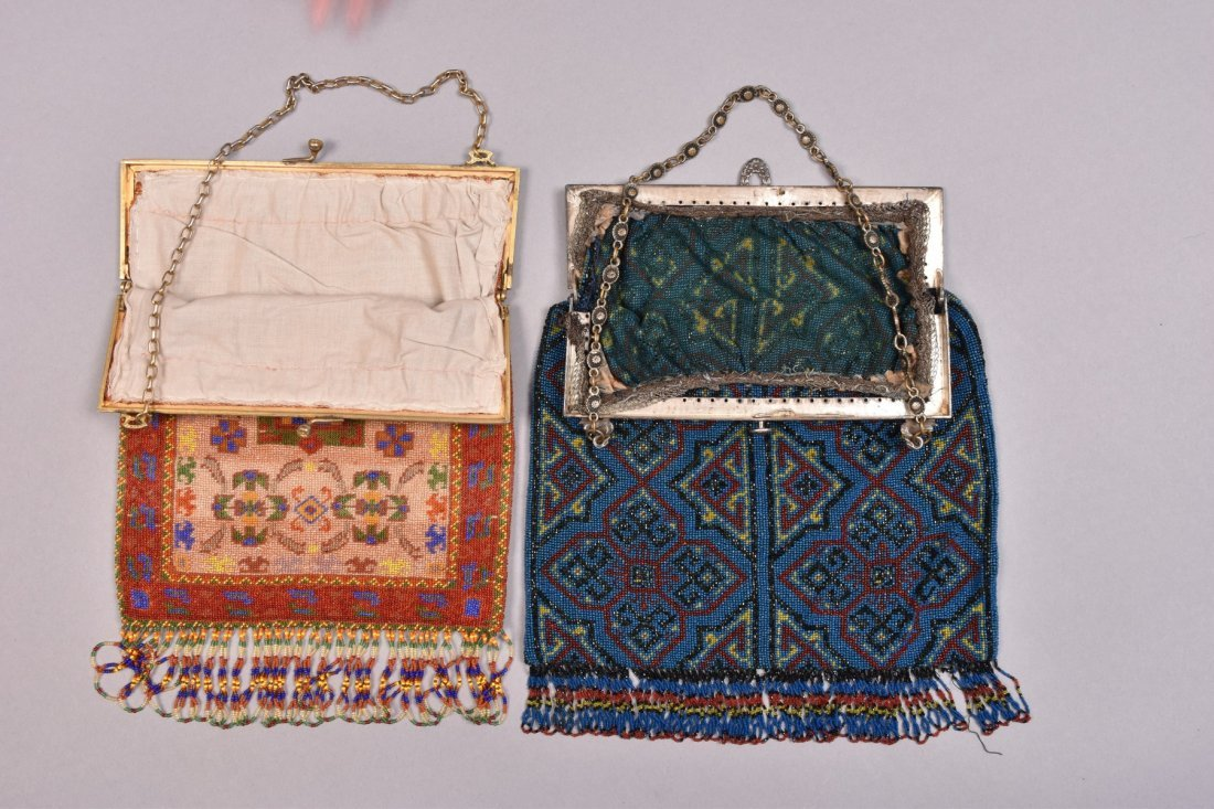 TWO LARGE CARPET DESIGN BEADED BAGS, LATE 20th C. - 3