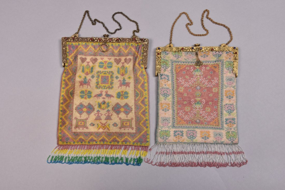 TWO MICRO-BEADED BAGS with JEWELED FRAME, EARLY 20th C.