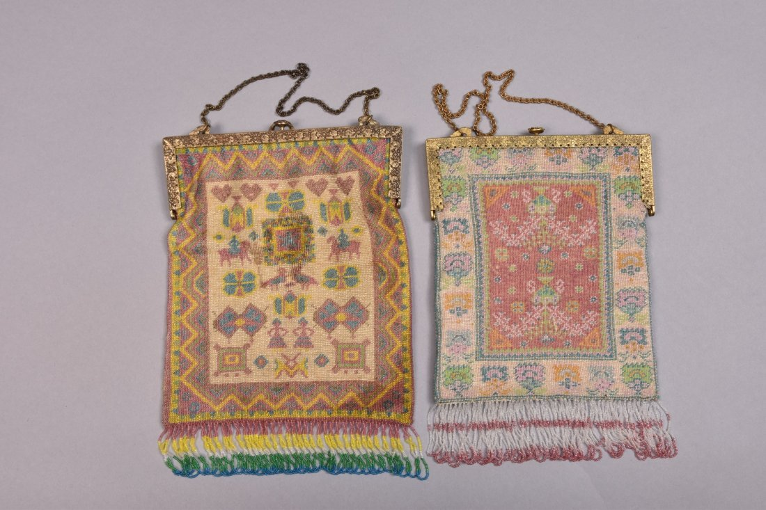TWO MICRO-BEADED BAGS with JEWELED FRAME, EARLY 20th C. - 2