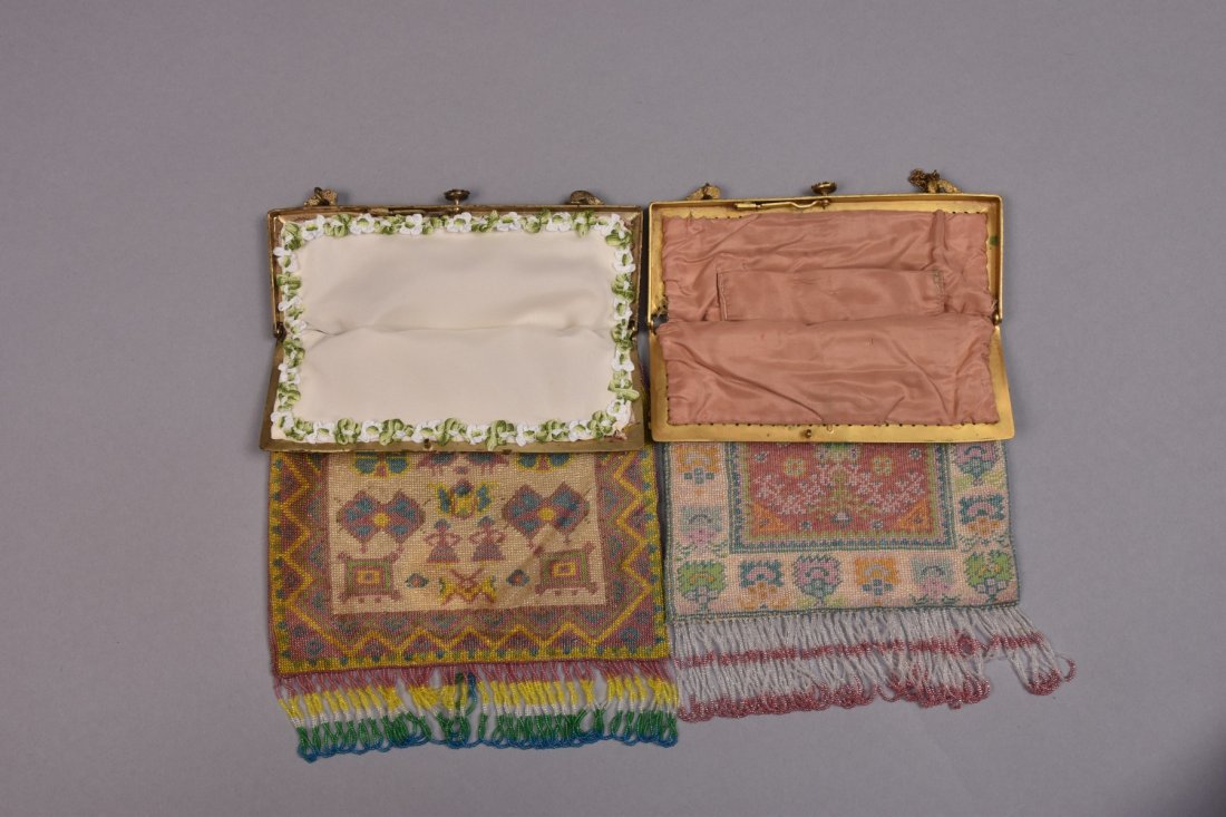 TWO MICRO-BEADED BAGS with JEWELED FRAME, EARLY 20th C. - 3