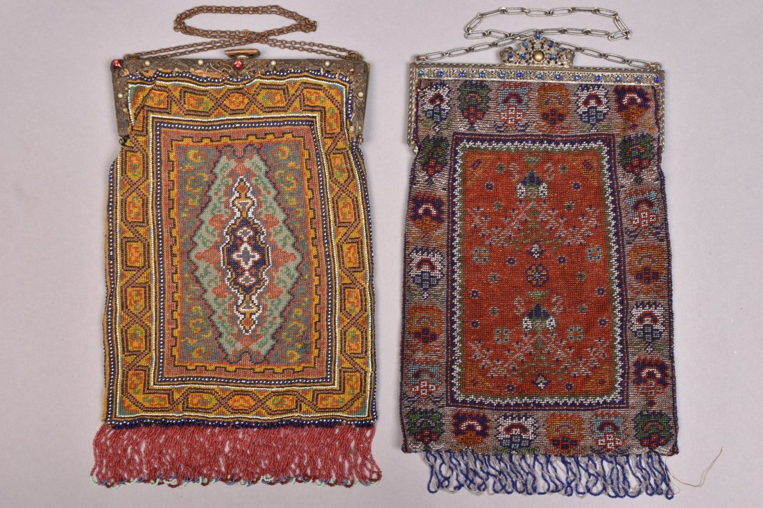 TWO OVERSIZED CARPET DESIGN BEADED BAGS, EARLY 20th C.