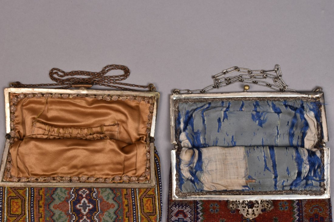 TWO OVERSIZED CARPET DESIGN BEADED BAGS, EARLY 20th C. - 3