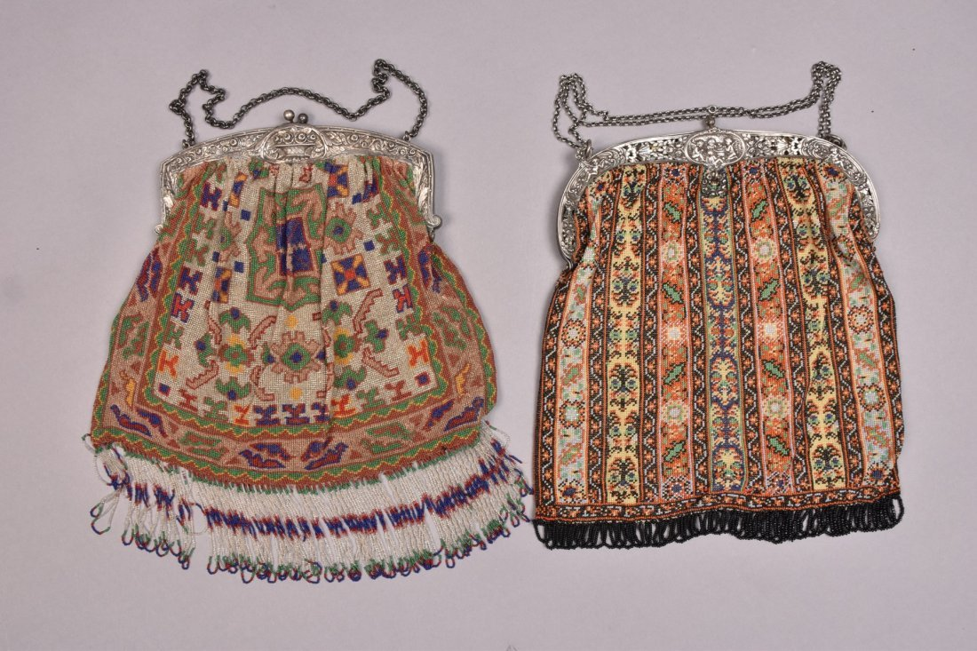 TWO OVERSIZED BEADED BAGS with REPOUSSE FRAME, EARLY