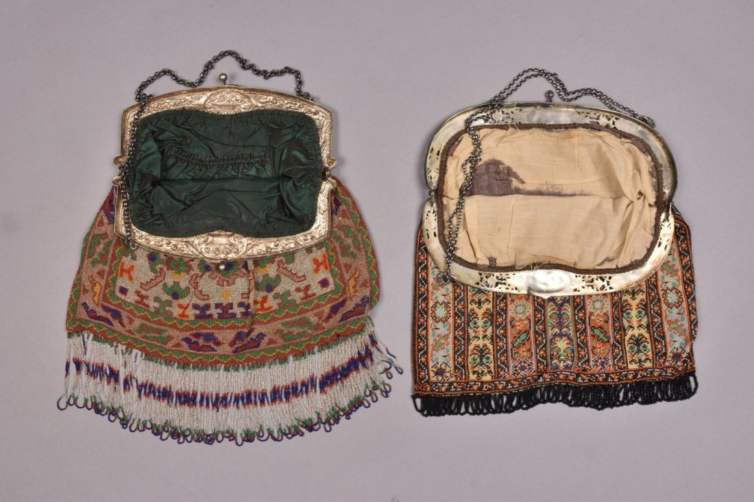 TWO OVERSIZED BEADED BAGS with REPOUSSE FRAME, EARLY - 2