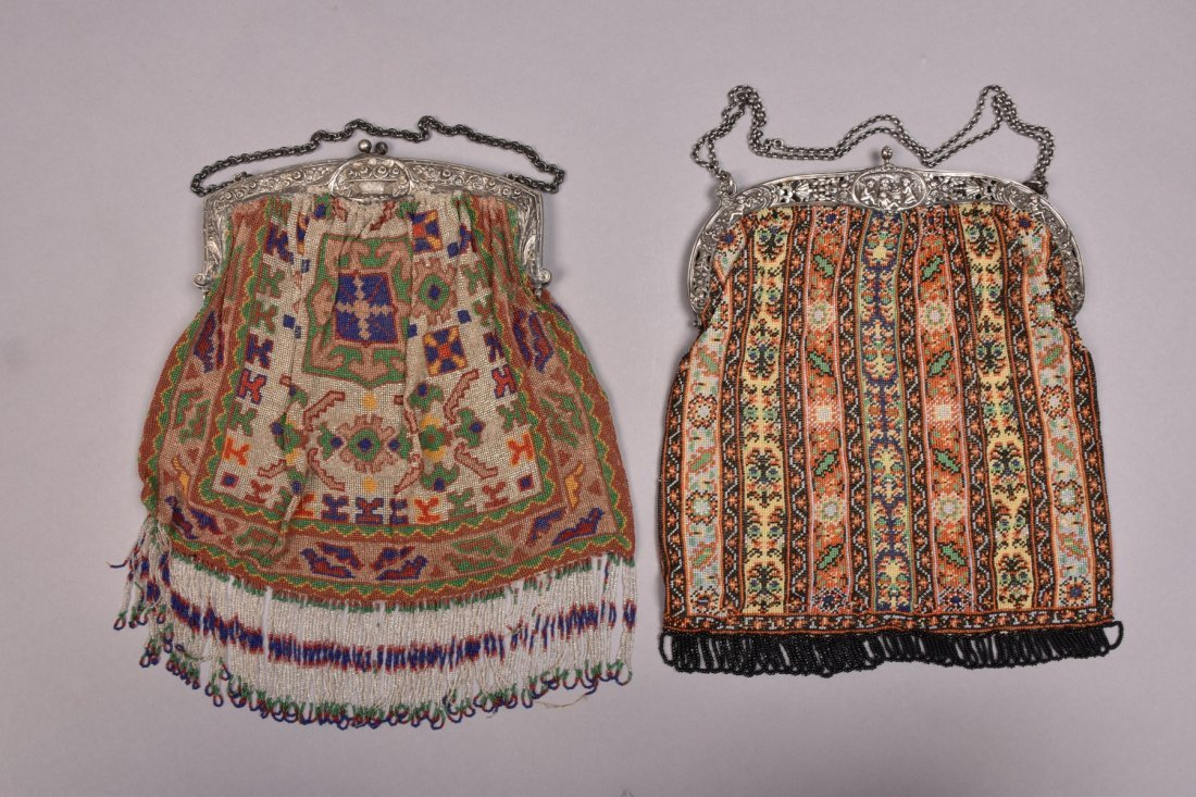 TWO OVERSIZED BEADED BAGS with REPOUSSE FRAME, EARLY - 3