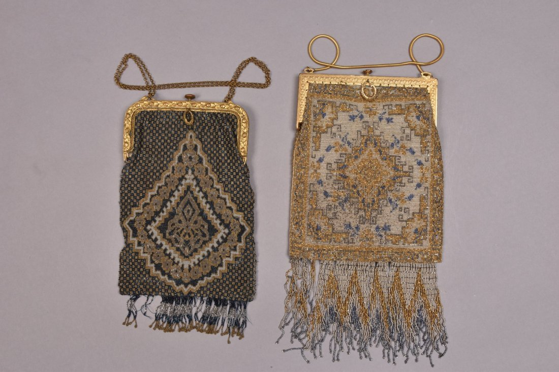 TWO FRENCH MICRO STEEL BEADED BAGS, EARLY 20th C.
