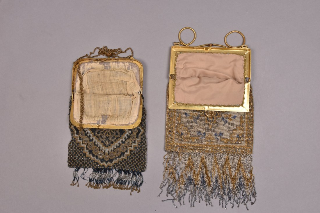 TWO FRENCH MICRO STEEL BEADED BAGS, EARLY 20th C. - 2