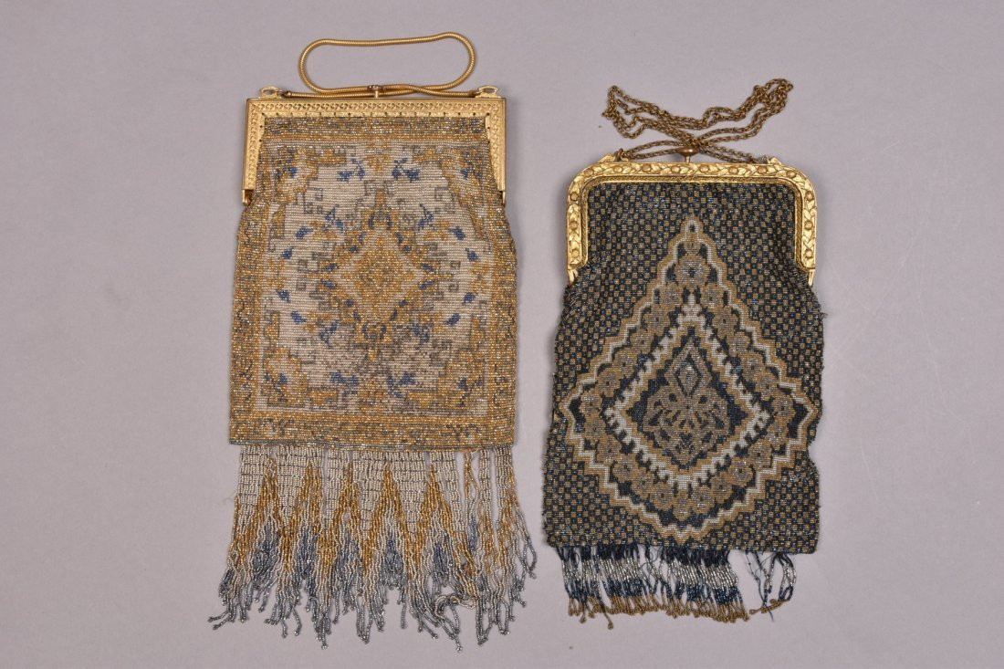 TWO FRENCH MICRO STEEL BEADED BAGS, EARLY 20th C. - 4
