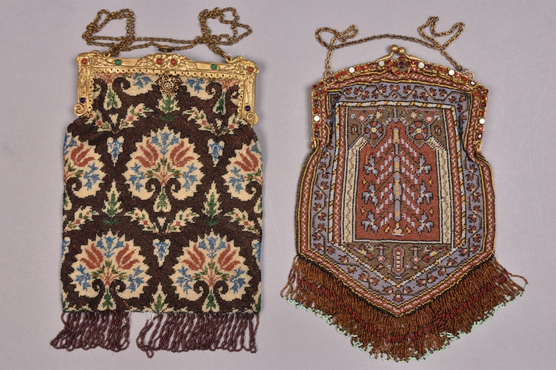 TWO CARPET DESIGN BEADED BAGS with JEWELED FRAME, EARLY