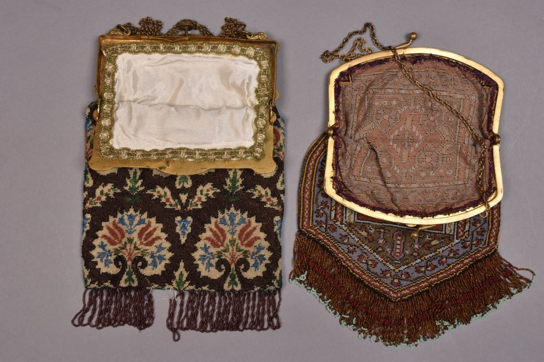 TWO CARPET DESIGN BEADED BAGS with JEWELED FRAME, EARLY - 2