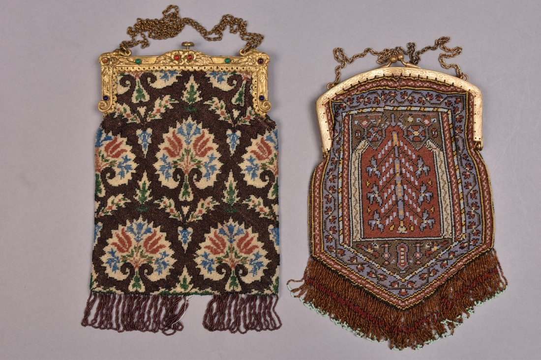 TWO CARPET DESIGN BEADED BAGS with JEWELED FRAME, EARLY - 3