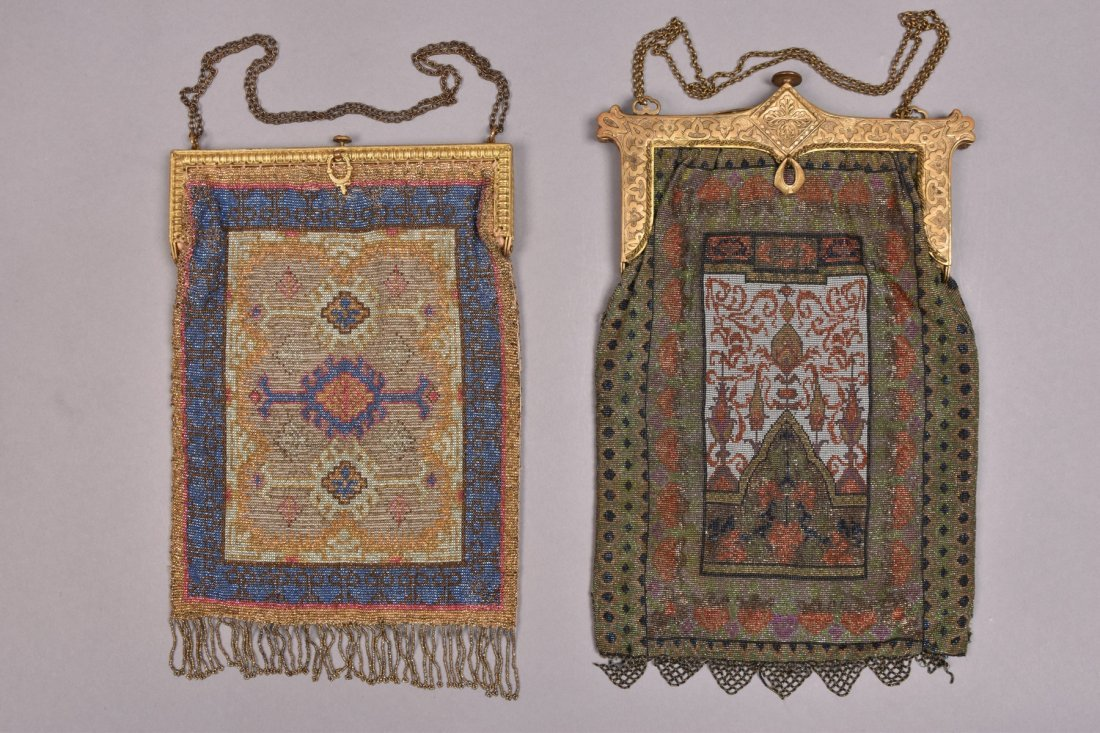 TWO CARPET DESIGN MICRO STEEL BEADED BAGS, EARLY 20th